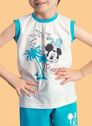 Mickey Mouse Mickey & Minnie Mouse Lisanslı Erkek Çocuk Şort Takım Krem